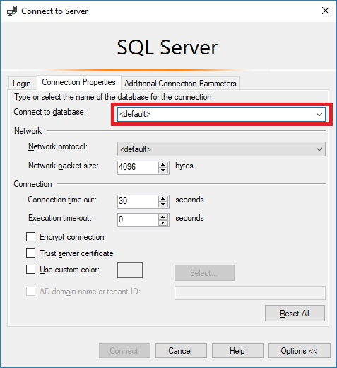 Microsoft SQL Server Management Studio Error 4064 SQL Server Connection Properties